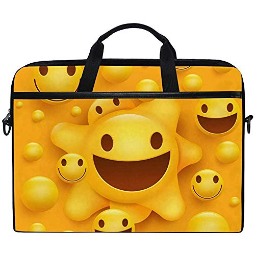 Laptop Sleeve Case,Funny Emoji Smile Face Briefcase Messenger Notebook Computer Bag With Shoulder Strap Handle,14-14.5 Inch