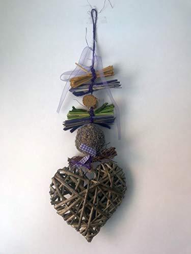 Small-Preis Türkranz Wanddeko Wandhänger Lavendel mit Rattanherz aus Naturmaterial