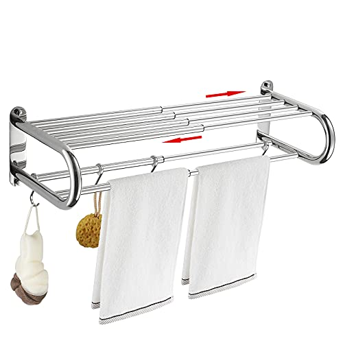 BESy Stainless Steel Towel Racks with Shelf, Adjustable 15 to 26.8 Inch Bathroom Shelf with Towel Bar Rod and Hooks for Wall Mount, Multifunction Double Towel Holder Hotel Style,Polished Chrome