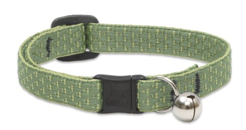 LupinePet Eco 1/2' Moss Cat Safety Collar with Bell , 8-12'