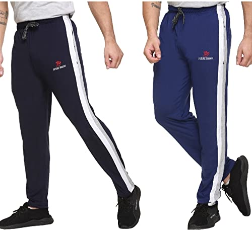 BM Stretchable Track Pants with Both Zipper Pockets - Slimfit Lower for Workout & Casual Wear (Pack...