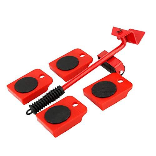 SHYPT Kit de deslizadores elevadores de muebles de 5 uds, juego de herramientas de movimiento de rodillo de muebles pesados de profesión, dispositivo de movimiento de barra de rueda, Max Up para 100 k