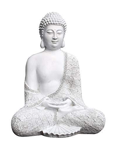 Tiefes Kunsthandwerk Steinfigur Buddha sitzend - Antik-Weiss, Garten Deko Figur Stein Statue Frostsicher