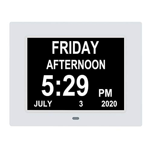 LaMi Products [Newest Version] Digital Calendar Day Alarm Clock with 8 Alarm Reminders,AM/PM Function,Extra Large Impaired Vision Clock with Non-Abbreviated Day & Month Elderly Clock (7 inch, White)