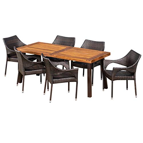 Christopher Knight Home Jerome Outdoor 7-Piece Acacia Wood/Wicker Dining Set   with Teak Finish   in Multibrown, Rustic Metal