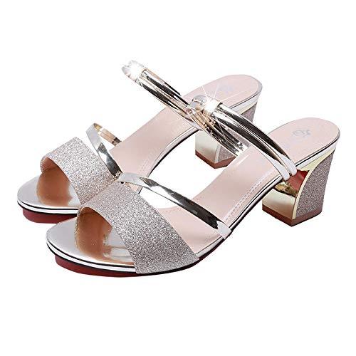 Platform Trouwschoenen voor Bruid,Twee open teen sandalen, stevige hakken met hoge hakken goud_36, Pumps Satijnen Bruids Feestschoenen