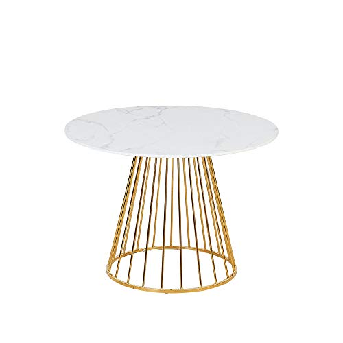 Verona Round Marble Effect Dining Table - with Gold Birdcage Metal Legs - 4 Seater 100x100cm (White Marble Effect)
