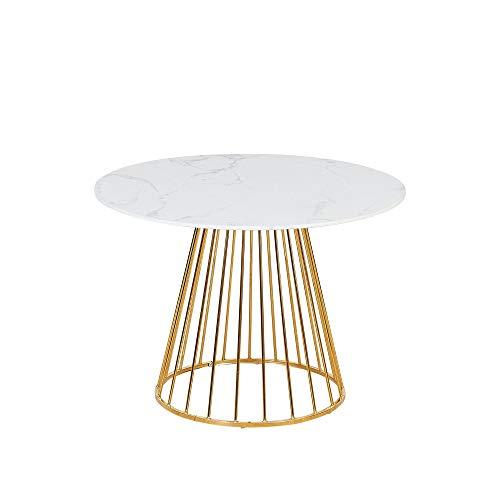 Verona Mesa de comedor redonda efecto mármol con patas de metal doradas, de 4 a 6 plazas, 100 x 100 cm (efecto mármol blanco)