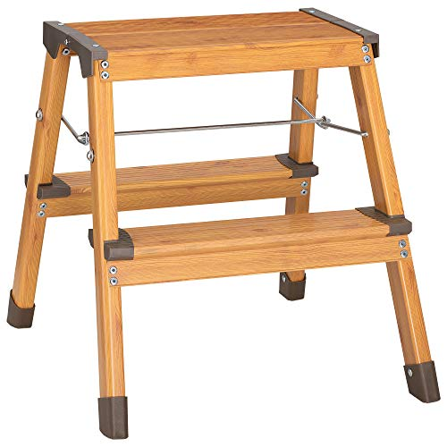 Navaris Escalera plegable de 2 peldaños - Escalerilla doméstica de aluminio con cap. hasta 150 KG - Elegante escalera ligera con óptica de madera