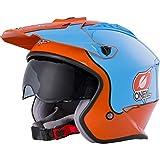 O'NEAL | Casco de Motocicleta | Motocicleta de Enduro | Estándares de Seguridad ECE 22.05, Casco ABS, Visera integrada | Casco Volt Gulf | Adultos | Naranja Azul | Talla M