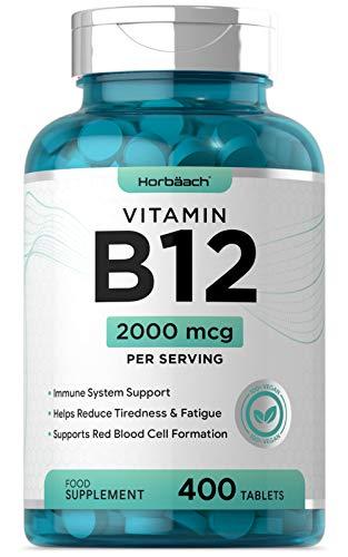 Vitamin B12 2000mcg | 400 Vegan Tablets | Reduction of Tiredness & Fatigue | High Strength, Non-GMO, Gluten Free Supplement
