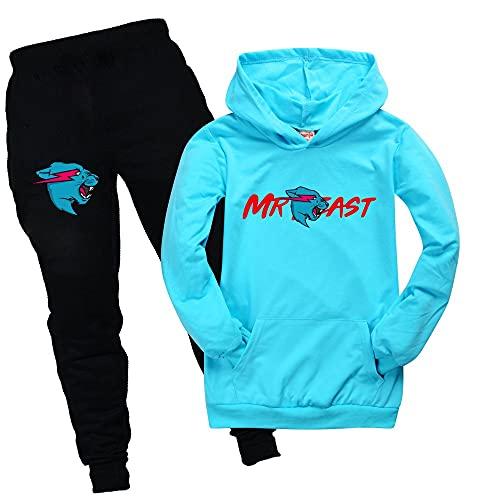 Mr Beast Merch - Sudadera con capucha y pantalones para niños, azul claro, 3-4 Años