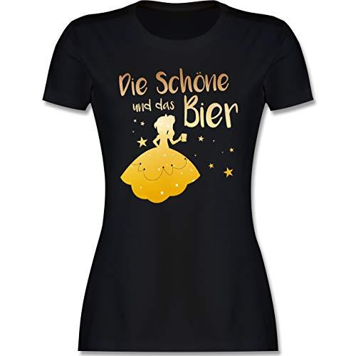 Typisch Frauen - Die Schöne und das Bier - M - Schwarz - lustige Frauen t-Shirts - L191 - Tailliertes Tshirt für Damen und Frauen T-Shirt