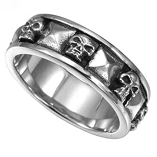 Jude Jewelers Stainless Steel Gothic Skull Biker Band Style Ring (Silver, 10)