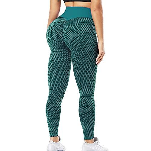 QTJY Pantalones de Yoga Ajustados para Levantar la Cadera, Mallas Deportivas de Cintura Alta para el Vientre para Mujeres, Pantalones de Ejercicio Push-up HL