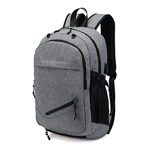 HaloVa Travel Backpack, Large Capacity Laptop Backpack with USB Charging Port, Waterproof School Bag with Basketball Mesh Exercise Fitness Backpack for College Student Men, Gray