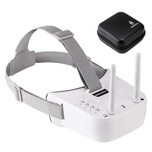 Mini FPV Goggles 5.8G 3 Inch 40CH FPV Video Headset with Double RP-SMA Antenna and Handbag Built-in 1200mAh Battery for FPV Racing Drone Quadcopters(White)