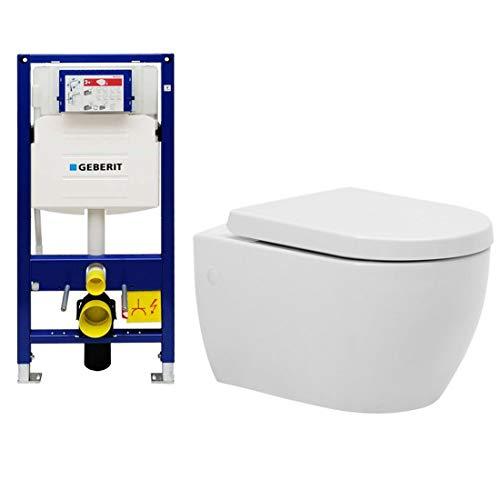 Taharet-WC mit Geberit Spülkasten UP320 Duofix 111300005 für Trockenbau inkl. abnehmbaren WC-Deckel mit sanft schließender Absenkautomatik | Dusch WC Für die Intimhygiene