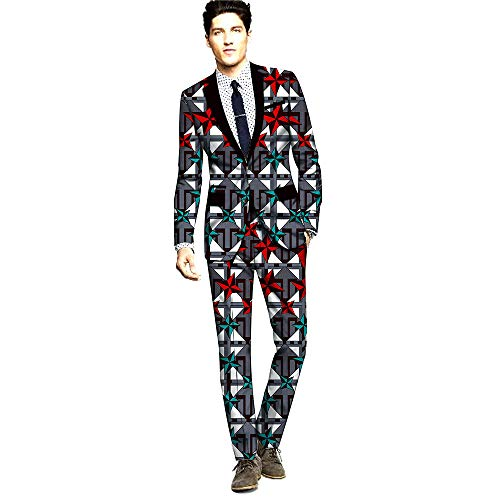 Men`s Suit 2 Piece Classic Fit African Print Jacket Blazer & Pleated Pants Set Dashiki Outfit 325X12 XS