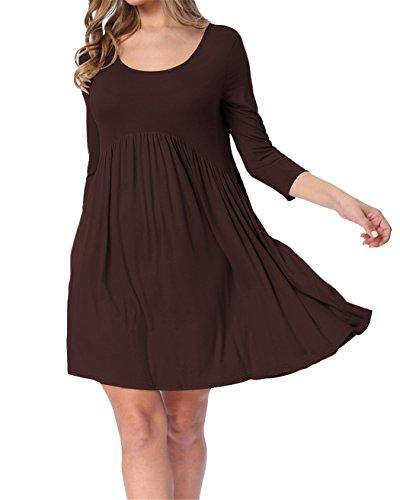 LAINAB Womens Summer 3 4 Sleeve Pleated Loose Swing Beach Casual Dress Coffee M