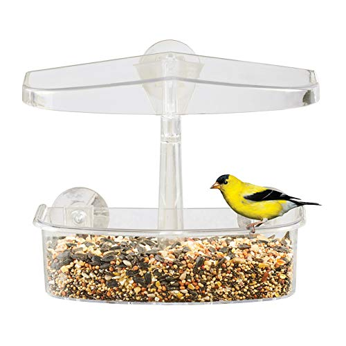 Easy-to-Install Clear Suction Cup Window Bird Feeder - Fill with Seeds, Nuts, Fruit - Drainage Holes Included, Plastic, 8