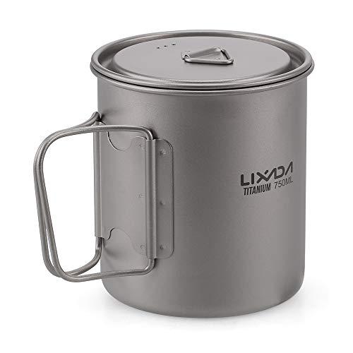 Lixada Ultralight Titanium Pot Tasse à Eau Portable Titanium Tasse avec Couvercle et Poignée Pliable Camping en Plein Air Cuisine Pique-Nique