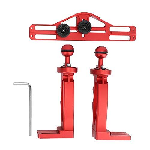 Ongoion Estabilizador de Mano Dual, Soporte de cámara Deportiva Antideslizante, Disparador de Obturador de Buceo Estable para Linterna de Buceo, Flash Colgante(Red)