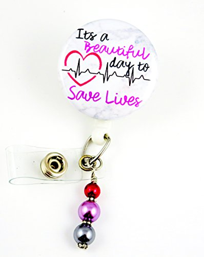 It's a Beautiful Day to Save Lives Purple Mylar - Nurse Badge Reel - Retractable ID Badge Holder - Nurse Badge - Badge Clip - Badge Reels - Pediatric - RN - Name Badge Holder