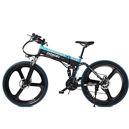 MERRYHE 27 Velocidades De Suspensión Completa E-Bike 400W Bicicleta Plegable Eléctrica Cruiser Bicicleta De Montaña Desmontable Li-Battery 26 Pulgadas Bicicleta...