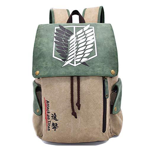 YANJJ Kinderrucksäcke Casual Canvas Bag Anime Print Kinderschule Rucksack Leichte Teens Rucksäcke Schultaschen 7-12 Jahre Attack on Titan-27 * 12 * 42cm
