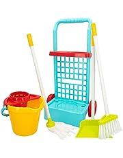 ColorBaby 40594 - Juego de imitación, carrito de limpieza con cubo, escoba, recogedor y fregona