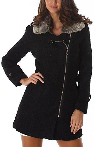 Voyelles Damen Mantel Jacke Taillierter Stoffmantel Parka Kunstfell-Kragen flauschig, Schwarz S