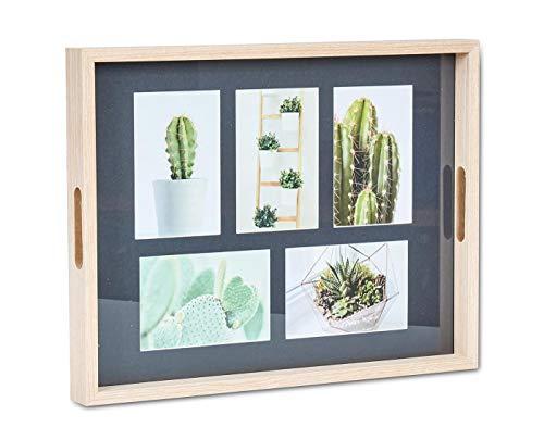 levandeo Bilderrahmen Tablett 5 Fotos 10x15cm Collage Fototablett Natur Braun Schwarz Fotorahmen...