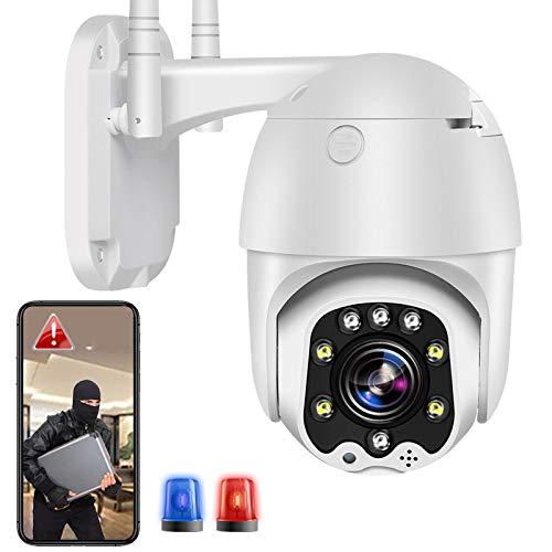 WiFi Cámara IP Cámara de Vigilancia Exterior Etección de Movimiento High-Definition 1080P PTZ 355°/90°Rotación,Visión Nocturna en Color,Audio Bidireccional,IP66 Impermeable,Alarma Remota 【Cámara+64G】