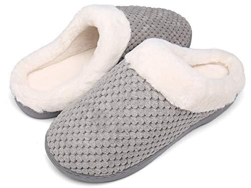 Mishansha Zapatillas De Estar por Casa para Mujer Antideslizante CáLido Invierno Pantuflas Casa Cómodas Suave Memory Foam Slippers,Gris,36/37