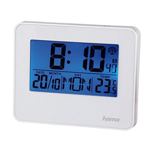 Hama Funkwecker RC 650 (2 Weckzeiten, Hintergrundbeleuchtung und Schlummerfunktion per Bewegungssensor steuerbar) Wecker weiß