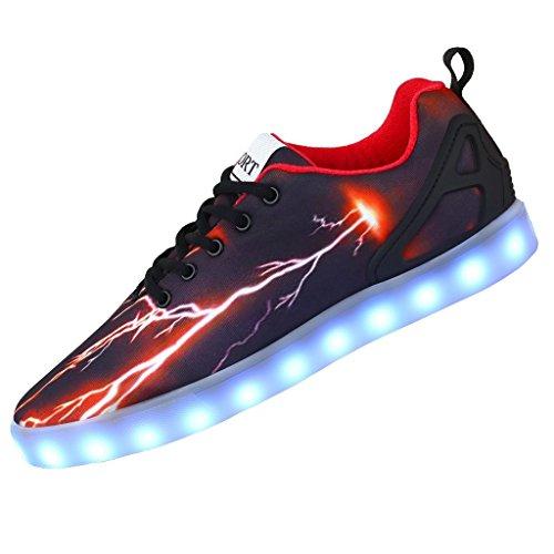 Herren/Damen Sneaker, Runder Kopf LED Schuhe Mode Leuchtende Freizeitschuhe USB Atmungsaktive Turnschuhe Schnürschuhe