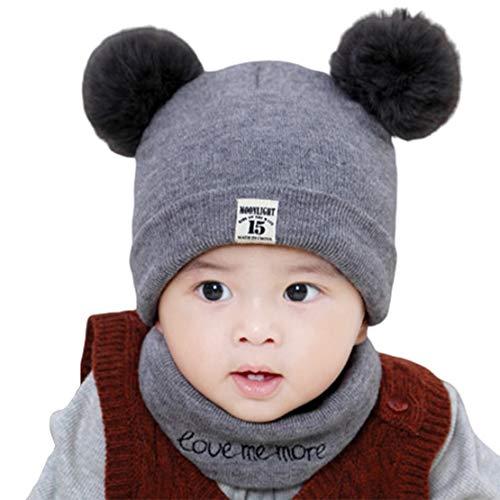 HIOD Conjunto de Bufanda de Sombrero de Bebé para Niños Gorros de Invierno para Niños Pequeños Gorro de Bola de Pelusa Beanie Niños Niñas 3-12 Meses,Gray