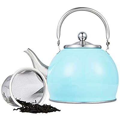 Stainless Steel Teapot Set with Infuser Filter , 1.6 Quart Capacity Teapot for Loose Tea, Green Tea