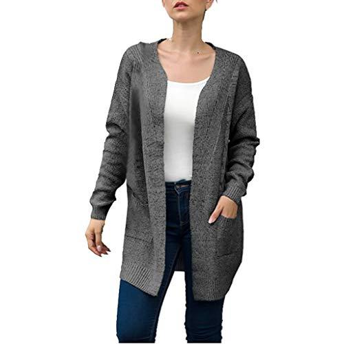 Yvelands Damen Strickjacke Solide Langarmtaschen Strickpullover Cover Up Cardigan(Dunkelgrau,L)