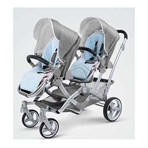 Yyqx sillas de Paseo Cochecito de bebé Gemelo, Puede Sentarse y reclinar Canasta Plegable para bebés, cochecitos de artefactos de Segundo niño, carruaje fácil de Transportar (Color : Light Gray)