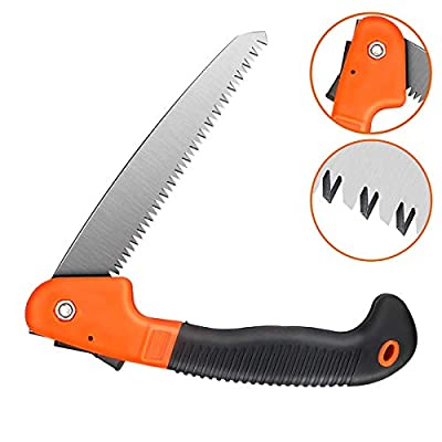 Folding Hand Saw,Camping Pruning Saw,8 Inch Blades Heavy Duty Dry Wood Pruning Saw with Safety Lock,Non-Slip Ergonomic Handle-Ideal for Camping,Trees,Pruning,Hunting,Woodworking,Hiking,Trimming