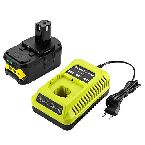 XNJTG 5000mAh 18V Li-ion batterie de remplacement et chargeur pour Ryobi 18V one + P108 P107 P104 P105 P102 P103 outils