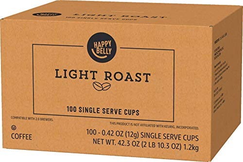 Amazon Brand - 100 Ct. Happy Belly Light Roast Coffee Pods, Morning Light, Compatible with Keurig 2.0 K-Cup Brewers