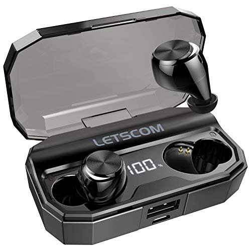 Wireless Earbuds, Letscom 80 Hrs Playtime, IPX6 Waterproof Headphones with Wireless Charging Case, Bluetooth 5.0 HD Stereo Built-in Mic in-Ear Sports Earphones for Running Gym Workout