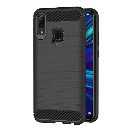 AICEK Hülle Compatible Huawei P Smart 2019, Schwarz Silikon Handyhülle für Huawei P Smart 2019 Schutzhülle Karbon Optik Soft Hülle (6,21 Zoll)