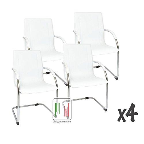 Stil Sedie Set 4 poltrona attesa con braccioli Milano, sedia per sale conferenza, sedia per gli ospiti con seduta ampia bianco