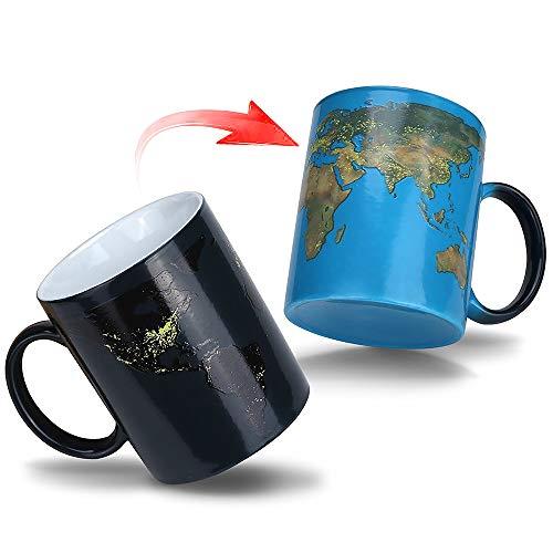 Farbwechselbecher Magic Heat Sensitive Coffee Cup - 12 Unzen Keramik Teebecher mit Thermo Graphic Ink - Weltkarte unter dem Motto - Perfektes Neuheitsgeschenk für Fernwehliebhaber und Abenteurer