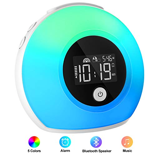 iYeHo Alarm Clock for Kids Bedrooms Heavy Sleepers,Music Wake Up Light with Bluetooth Speakers,Dimmable Color Changing Night Light,Music Player for Party,Camping