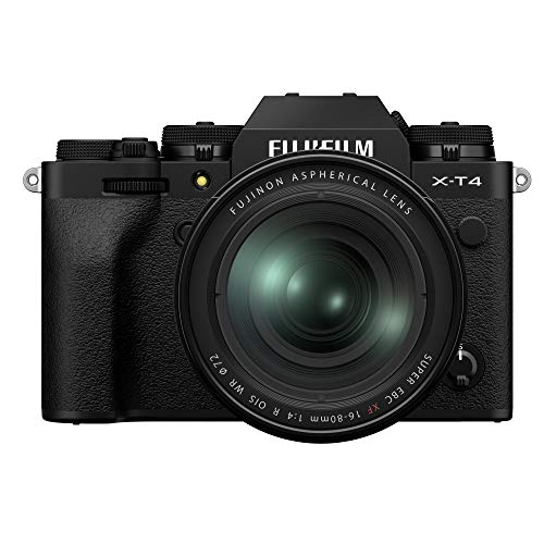 "Fujifilm X-T4 26 MP Mirrorless Camera Body with XF16-80mm Lens(APS-C X-Trans CMOS4 Sensor, EVF, Face/Eye AF, IBIS, 3"" Touchscreen, 4K/60P & FHD/240P Video,Film Simulation, Weather Resistance)- Black"